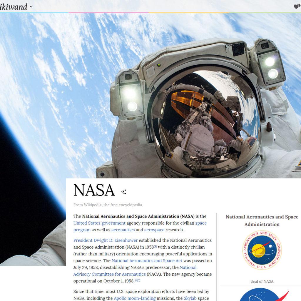 Beispielseite NASA