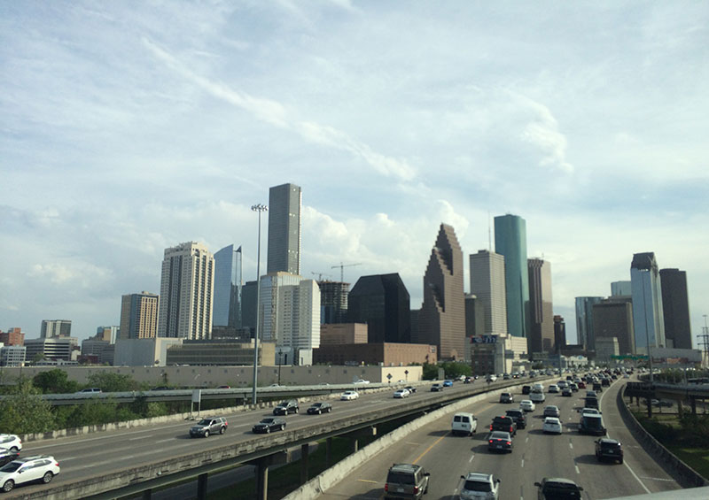 """Oh, so many cars"". Our first view on Houston's downtown."