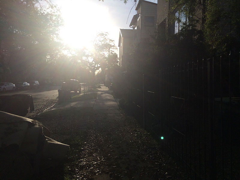 Morning streets show horizontal lighting.